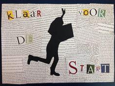Letter-achtergrond Leerling in actieve (sport)houding, mét een boek. De foto is overgetrokken op zwart papier, zo is een silhouet gemaakt. Grote letters vormen een zin, in dit geval het thema van de Kinderboekenweek