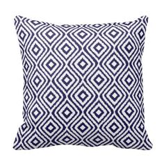 Simple, elegant, modern Ikat pattern for accent cushions.  Navy Blue and white colour background.  This stylish and chic, contemporary design will enhance any home decor, living room, sofa, lounge, bedroom, office, boat or university or college dorm room, teenagers or kids rooms.