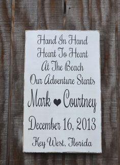 Wedding Sign - Beach Wedding - Nautical   Wedding - Save The Date - Bridal Shower - Anniversary Gift - Custom Wedding   Personalized Reception