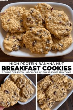 These banana breakfast cookies are super easy to make and pack walnuts, cranberries, oats, and 9 grams of protein into each cookie. They're stored at room temp and perfect for breakfast or a snack on Banana Breakfast Cookie, Breakfast Cookie Recipe, High Protein Breakfast, Cookie Recipes, Oatmeal Protein Cookies, Banana Oatmeal Cookies, Healthy Cookies, Protein Muffins, Baked Oatmeal