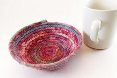 Boho Coiled Basket, Small Coil Basket, Hand Dyed Fabric, Gift Basket, Fabric Basket, Boho Rope Basket, Boho Decor Basket, Laura Loxley