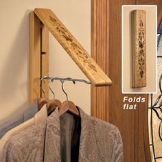 InstaHanger® Wood, Folding Wall Coat and Clothes Hanger | Solutions