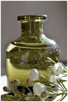 Bottle of moss green Bottles And Jars, Glass Bottles, Mason Jars, Olives, Verde Aqua, Vert Olive, Ivy House, Vintage Bottles, Olive Tree