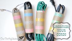 40 Brilliant DIY Organization Hacks via Brit + Co. Washi Cord Organizers: Of course, we couldn't come across another great use for washi tape and not post it! (via Our Thrifty Ideas) Made with empty toilet paper rolls! Organizing Hacks, Cord Organization, Organizing Your Home, Cord Storage, Diy Storage, Storage Ideas, Cable Storage, Bedroom Organization, Storage Solutions