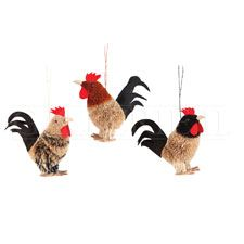 Buri Rooster Christmas Ornament (Set of 3)