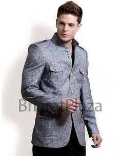 Grey Hunting Coat Item code : SJB5002  http://www.bharatplaza.com/grey-hunting-coat.html