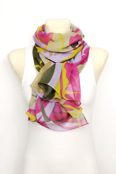 Silk Floral Scarf - Pink Fashion Shawl - Unique Fabric Scarf - Chiffon Scarf - Light Geometric Scarf - Boho  Women Accessories -Gift For her by LocoTrends on Etsy