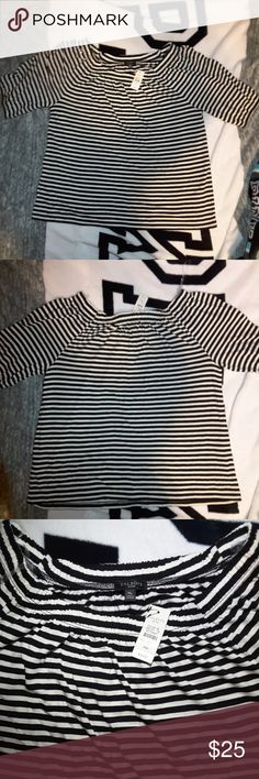 Cute New White & Black Strip Off the ShoulderShirt New, never been worn white & black shirt off the shoulders shirt with 3/4 sleeves, soft fabric cotton Talbots Tops Crop Tops