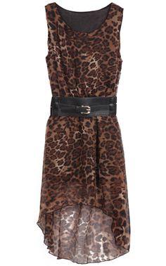 #sheinside Leopard Sleeveless Belt High Low Chiffon Dress - Sheinside.com