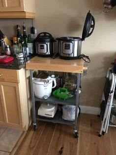 6 Instant Pot Storage Solutions Besides the Beloved Target Cart - Storage Cart - Ideas of Storage Cart - 6 Instant Pot Storage Solutions Besides the Beloved Target Cart Under Cabinet Storage, Pot Storage, Storage Cart, Storage Cabinets, Kitchen Appliance Storage, Small Kitchen Organization, Diy Kitchen Storage, Organization Ideas, Storage Ideas