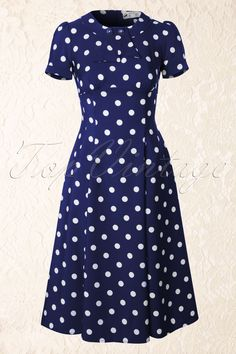 Bunny - 50s Madden Dress in Navy And White Polkadot