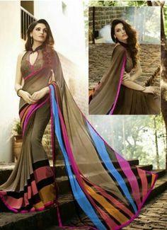 Brown Georgette Printed Fancy Blouse Designer Saree |R-93