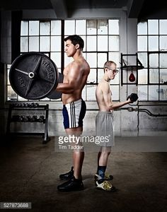 Stock Photo : Strength of body builder and Thin intellectual compared
