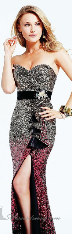 Sequined Dress by Faviana #strapless