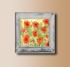 Orange Flowers Summer Spring Flowers Garden Landscape Original Watercolor Painting Colurful Home and Wall decor https://www.etsy.com/listing/186312213/orange-flowers-summer-spring-flowers?ref=shop_home_active_7