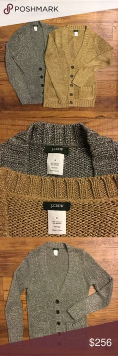 J Crew Pair of Metallic Cardigans. Both Size Small 80% Viscose, 20% Metallic. Viscose with Metallic interwoven. Shimmer from an angle. Both in good condition. For more pictures, just ask! Includes both cardigans (A) J. Crew Sweaters Cardigans
