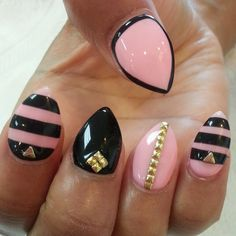 Almond Shape, Black, Pink and Gold Nails