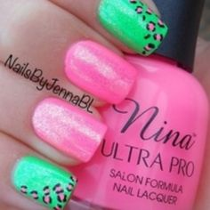 Summer nails pink gradient and green neon nails Nails Opi, Nails Polish, Neon Nails, Love Nails, Pink Nails, How To Do Nails, Pretty Nails, My Nails, Leopard Nails