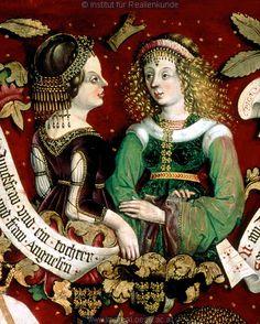 Porträt: Töchter Leopolds III.  Kunstwerk: Temperamalerei-Holz ; Tafelbild ; Part Hans ; Niederösterreich  Dokumentation: 1489 ; 1492 ; Klosterneuburg ; Österreich ; Niederösterreich ; Stiftsmuseum  Anmerkungen: Klosterneuburg