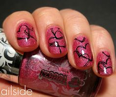 I love that polish, and the hearts looks like they were drawn on with a pen! (ailside with Teeez! nail polish)