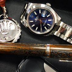 Rolex Datejust, blue dial.