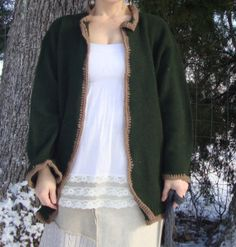 Kimono Styled Forest Green Cardigan Coat from by RebirthRecycling, $57.00