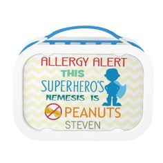 Allergy Alert: This superhero's nemesis is peanuts. Remind others at meal times of food allergies. Great for kids with food allergies. Personalize with name. Designs by Lil Allergy Advocates www.lilallergyadvocates.com CLICK HERE to shop Lil Allergy Advocates Store