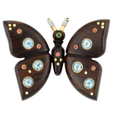 Wood, Gold, Gem-Set and Diamond Butterfly Brooch