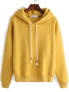 Hooded+Zipper+Loose+Yellow+Sweatshirt+10.36