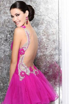 2014 Sexy Homecoming Dresses A Line Short/Mini Straps Open Back With Beadings&Sequins $165.99