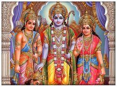 Lord Rama, flanked by Sita Mata and Lakshmana, with Hanumanji at the His Feet.