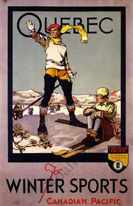 Quebec Vintage Winter Ski Travel Poster Repro 12x18   eBay