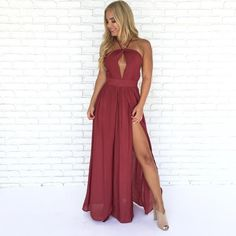 Big Dresses, Formal Dresses, New Outfits, Stylish Outfits, Business Casual Outfits For Women, Wine Dress, Boutique Maxi Dresses, Fashion Forward, Bridesmaid Dresses