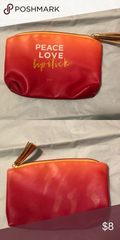 Peace Love Lipstick Makeup Bag Like new orange ombré Ipsy cosmetic bag. Ipsy Bags Cosmetic Bags & Cases