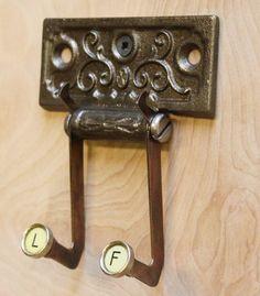 Old typewriter key coat hanger