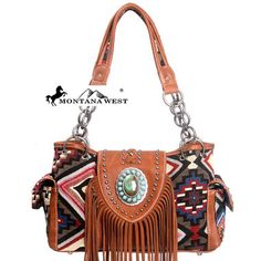 Womens purse~Make a bold and beautiful statement with this Montana West® faux leather shoulder bag featuring a stunning aztec print front panel. The front features a gorgeous western aztec print.  It also has a beautiful concho accent and fringe border on the front.  Flower patterned Montana West® interior with large center divider and back wall zip closure pocket has room for all your needed items.