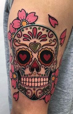 Are you thinking about getting a Sugar Skull tattoo? Check our collection of unique sugar skull tattoos for your next ink. Mexican Skull Tattoos, Skull Rose Tattoos, Pink Tattoo Ink, Pink Tattoos, Mexican Skulls, Candy Skulls, Sugar Skull Art, Tattoo Sugar Skulls, Skull Candy Tattoo