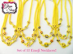 Emoji Necklaces - Set of 12 - Birthday Party Favors Accessories - Emoticon, Smiley Face, Emoji Faces, Prizes, Texting Faces Party Supplies by GlamShopBeads on Etsy https://www.etsy.com/listing/398070915/emoji-necklaces-set-of-12-birthday-party