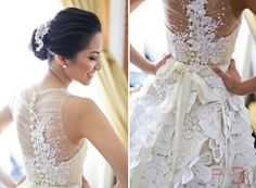 """THE ULTIMATE WEDDING DRESS. sophisticated back-""""less"""". love the ribbon detail!"""