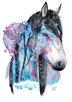 Art inspiration drawing - Artist Shows The Natural Beauty Of Animals In Paintings – Art inspiration drawing Horse Drawings, Animal Drawings, Cool Drawings, Cute Drawings Of Animals, Arte Equina, Winter Horse, Watercolor Horse, Art Inspiration Drawing, Painted Pony