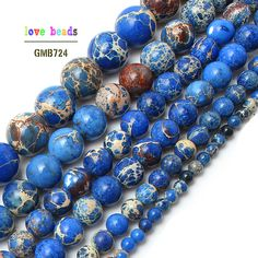 Natural Loose Blue Striped Agate Round Gemstone Spacer Beads Stone Selcet Size