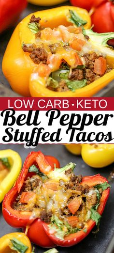 BELL PEPPER STUFFED TACOS are baked with your favourite taco toppings inside, and is a great low-carb and low-calorie meal or appetizer option. With this no-fuss recipe, pre-cooking the bell peppers is not necessary. #stuffed tacos #bellpeppertacos #lowcarbtacos #tacorecipe #lowcarbmeal #lowcarbrecipe #easyrecipe #keto Healthy Taco Recipes, Healthy Tacos, High Protein Recipes, Mexican Food Recipes, Cooking Recipes, Healthy Moms, Keto Recipes, Chicken Bell Pepper Recipes, Recipes With Chicken And Peppers