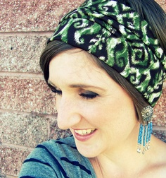 Simple Boho Wide Stretch Headband  Green and Brown Ikat Print by LCDecorStudio, $10.00