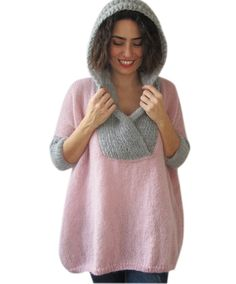 Plus Size Hand Knitted Sweater with Hoodie Pink  Gray  от afra, $120.00