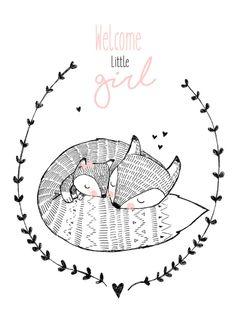 Ansichtkaart Welcome little girl Lieve ansichtkaart met vossen en tekst Welcome little girl. Illustratie Marieke ten Berge