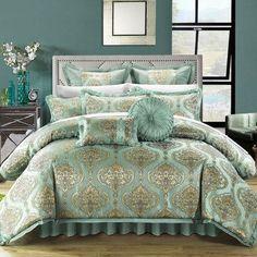 Chic Home Como 9 Piece Comforter Set Size: Queen, Color: Blue
