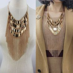 2014 fashion jewelry accessories designer shinning gold plated fringed  tassel necklace for women costume chunky collar bib US $9.99
