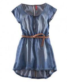 Faded Denim Dress with High Elastic Waist and High Low Hem