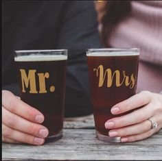 Mr and Mrs Engagement Beer Set. Perfect for engagement pictures or as a gift for the couple!