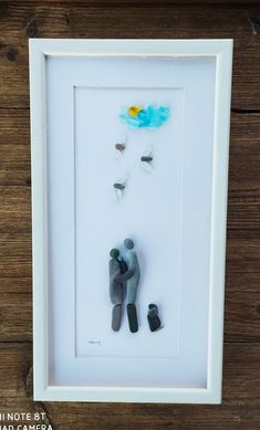Pebble art family3, Family portrait+dog, family pebble picture, sea glass picture, home decor, home living, family3 gift, housewarming